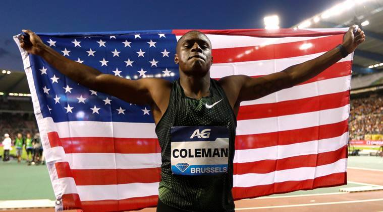 Christian Coleman of the U.S. celebrates after winning the men's 100m