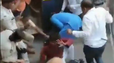 Video: Chhattisgarh Police attack Congress workers in Bilaspur, hit general secretary on the head