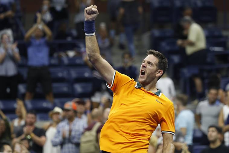 Juan Martin Del Potro of Argentina salutes the crowd after his match against Borna Coric of Croatia (not pictured) in the fourth round on day seven of the US Open at USTA Billie Jean King National Tennis Center.