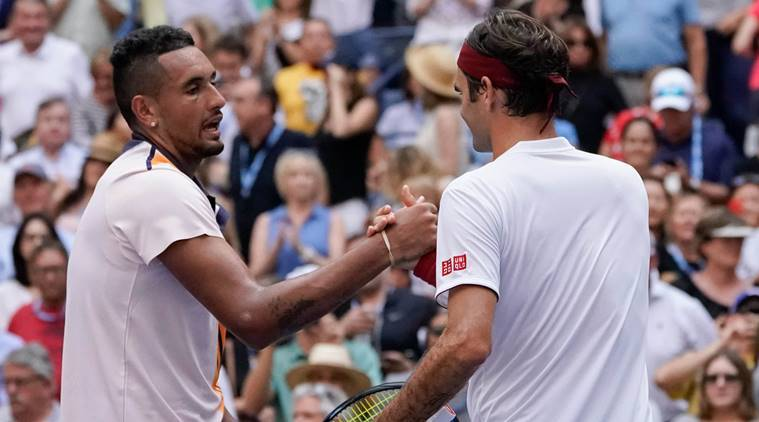 Roger Federer of Switzerland after beating Nick Kyrgios of Australia in a third round match on day six of the 2018 U.S. Open tennis tournament at USTA Billie Jean King National Tennis Center.