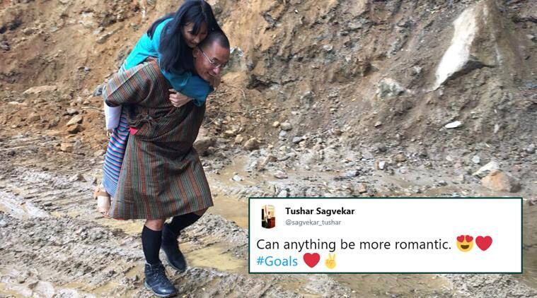 Tshering Tobgay, Tshering Tobgay carries wife on back, former bhutan pm carries wife, sir Walter Raleigh queen story, viral news, husband goals, indian express