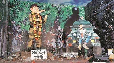 Mixing politics with puja, pandal brings Kashmir human shield row to Vadodara