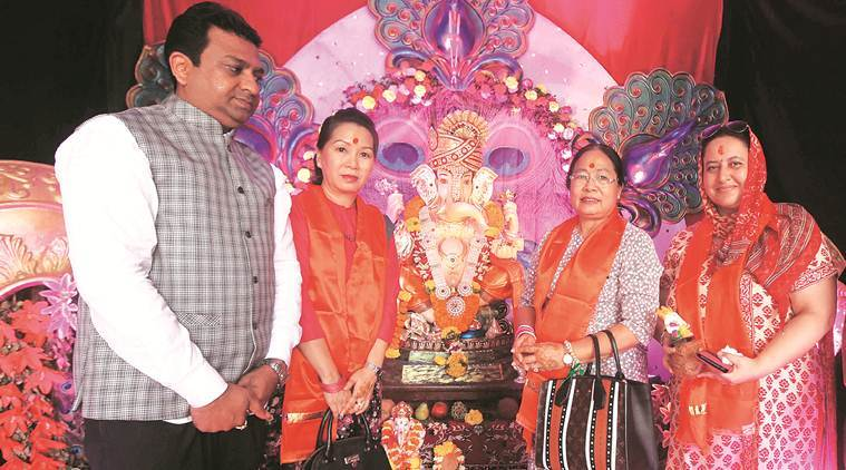 Members of a delegation from Myanmar, who are in Pune for the BIMSTEC military exercise with the Indian Army, visited the Swarajya Mitra Mandal in Koregaon Park for Ganesh Festival celebrations, in Pune on Saturday. (Express photo/Pavan Khengre)