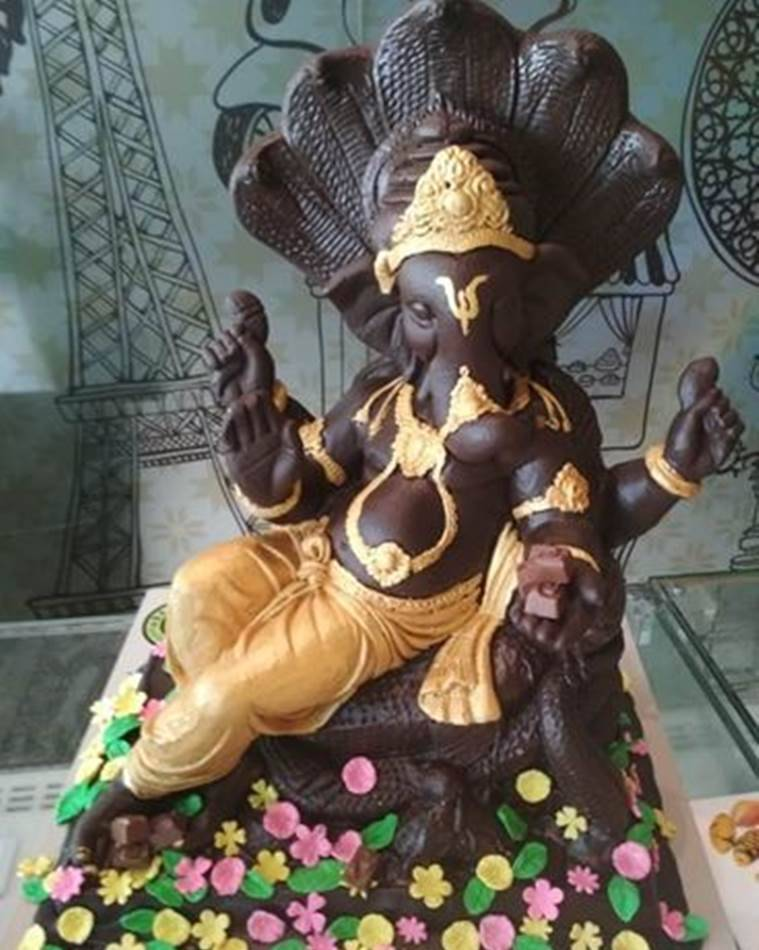 ganesh chaturthi, ludhiana ganesh chocolate idol, ganesha chocolate idol, indian express, ganpati chocolate idol