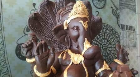 ganesh chaturthi, ludhiana ganesh chocolate idol, ganesha chocolate idol, indian express, ganpati chocolate idol