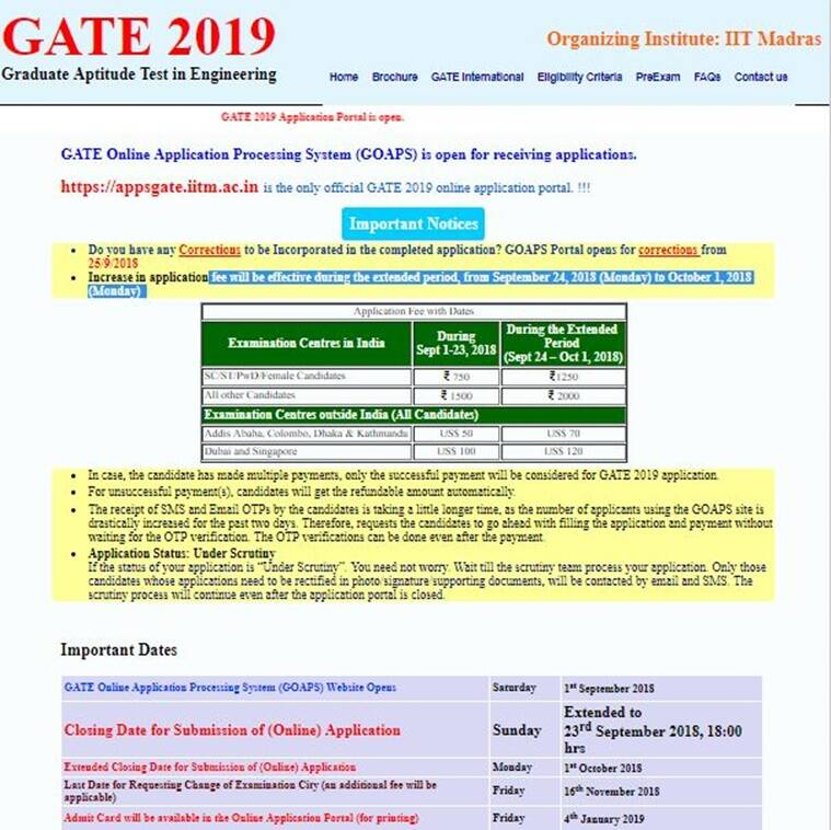gate 2019 application form, gate 2019 official website, gate.iitm.ac.in, appsgate.iitm.ac.in, gate 2019 iit madras