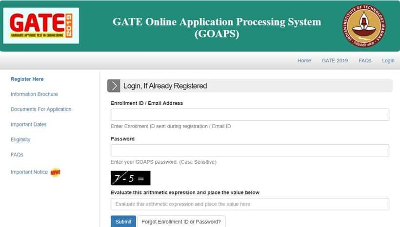 gate 2019, gate 2019 application, gate.iitm.ac.in, iit madras, gate 2019 syllabus, gate 2019 exam date