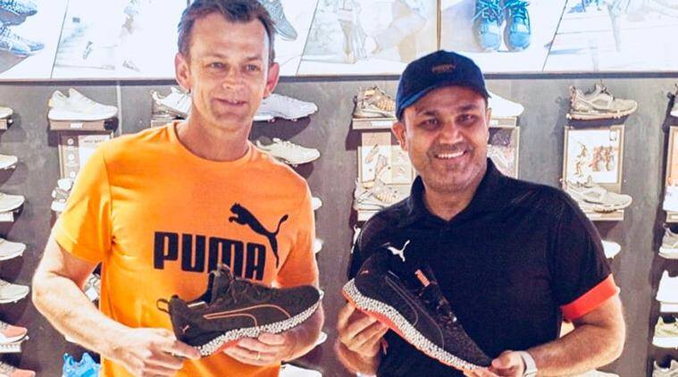Adam Gilchrist and Virender Sehwag for a promotional event in Bengaluru