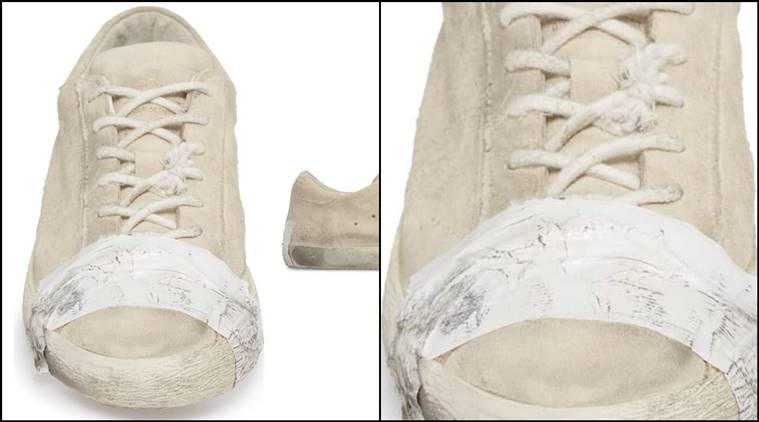 expensive taped sneakers glorify poverty, taped sneakers, taped sneakers, Expensive taped sneakers accused of glorifying poverty, sneakers, trending news, indian express, indian express news
