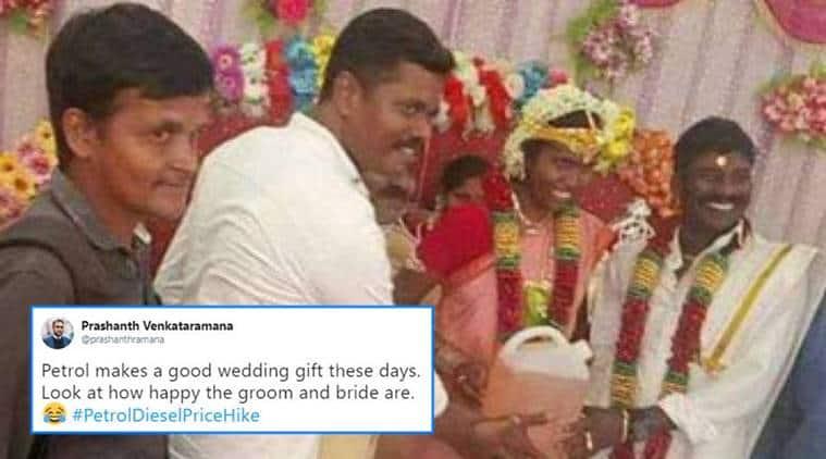 Tamil Nadu, Tamil nadu groom gifted petrol, groom gifted petrol, petrol prices, petrol price in india, wedding, indian marriages, indian express, indian express news