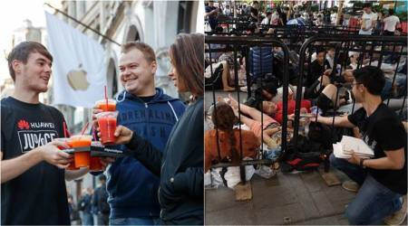 Huawei hands out juice and power banks to people waiting outside Apple stores on its launch day