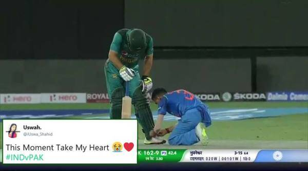 india vs pakistan, asia cup, ind pak match, Yuzvendra Chahal, Usman Khan, chahal tie shoelace, indian tie pak cricketer shoelace, viral news, indian express, sports news