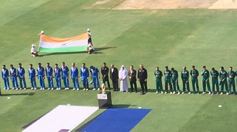 India and Pakistan teams for the national anthems in the Asia Cup