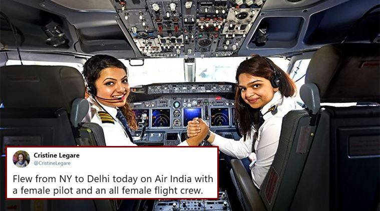 women pilots, women aviation industry, world most women pilots, india hightest women pilot, air india women pilots, air india all women crew, viral news, good news, indian express