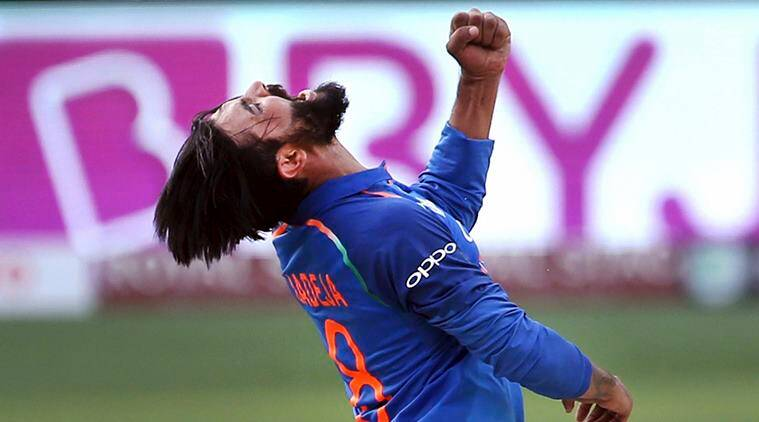 India's Ravindra Jadeja celebrates the dismissal of Bangladesh's Mohammad Mithun during the one day international cricket match of Asia Cup between India and Bangladesh in Dubai, United Arab Emirates