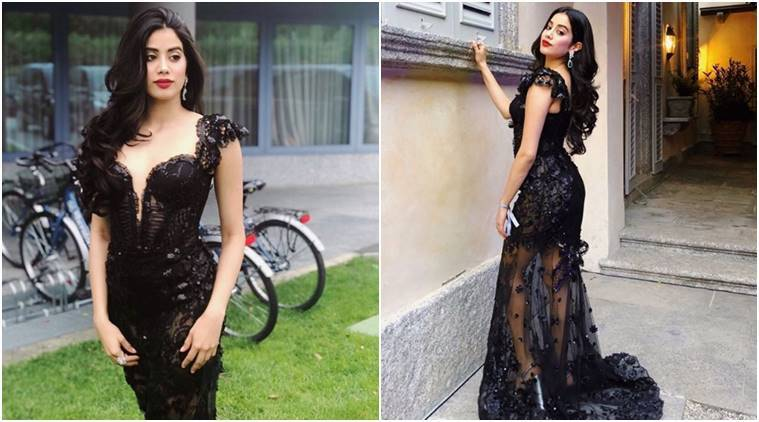 Janhvi Kapoor in this black semi-sheer gown is a sight to behold