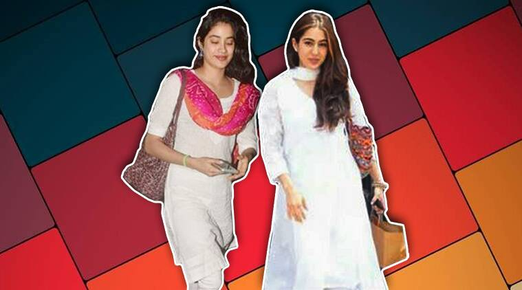 janhvi kapoor, sara ali khan, janhvi kapoor recent pictures, janhvi kapoor white churidar, sara ali khan recent photo, indian express, indan express news