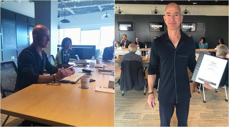 jeff bezos, amazon CEO, jeff bezos pajamas, jeff bezos pajamas to work pjammin, amazon employees wear pjs to work, childhood cancer awareness month, amazon childhood cancer initiative, viral news, indian express