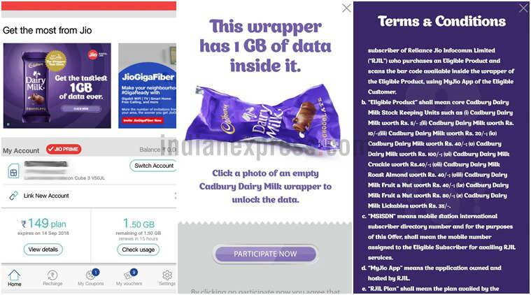Jio Offer: Free 1GB 4G data with Cadbury Dairy Milk