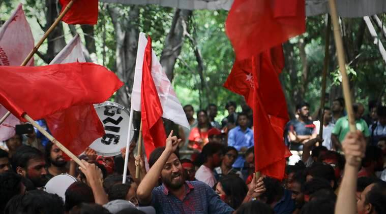 Scenes from the campus after the results were announced. (Express photo/Abhinav Saha)