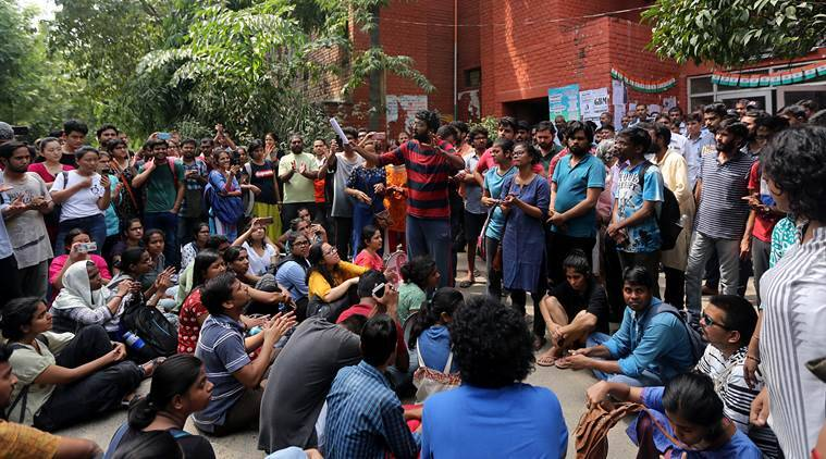 JNUSU president Balaji interacts with students at Mandvi hostel on Monday. (Express photo/Tashi Tobgyal)