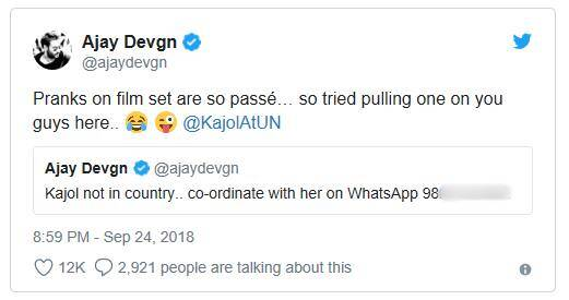 Ajay Devgn 'leaks' Kajol's WhatsApp number on Twitter, memes
