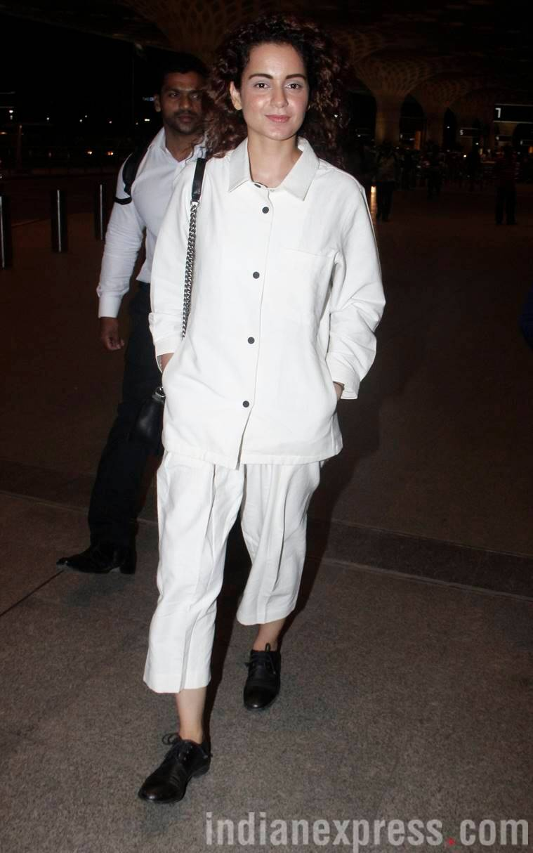 Kangana Ranaut, Kangana Ranaut airport, Kangana Ranaut bollywood fashion, Kangana Ranaut fashion style, Kangana Ranaut style file, indian express