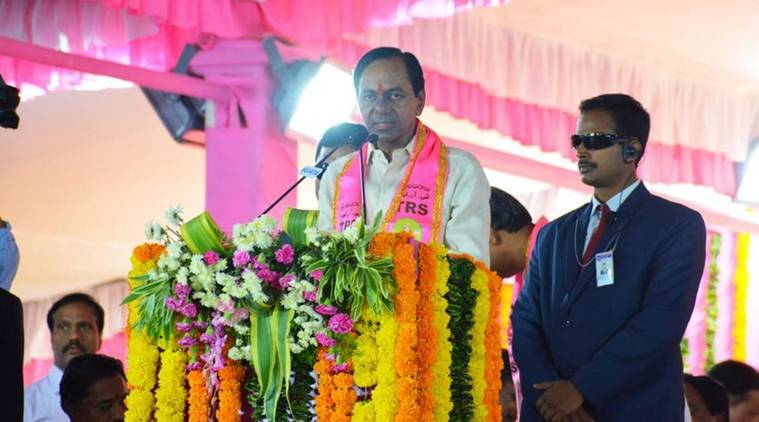 Telangana Chief Minister K Chandrashekar Rao addresses the crowd on the outskirts of Hyderabad on Sunday. (Twitter/@trspartyonline)