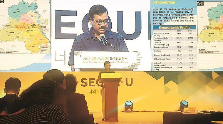 Kejriwal addressing the conference in Seoul. (Twitter)