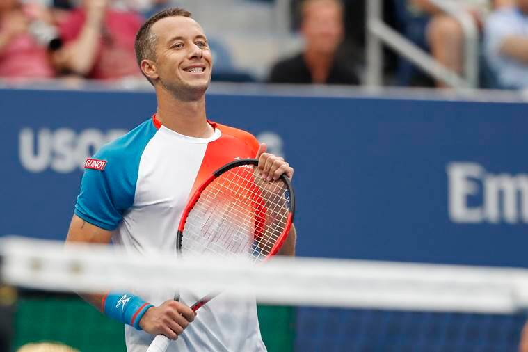 Philipp Kohlschreiber of Germany reacts after missing a shot against Alexander Zverev of Germany (not pictured) in the third round on day six of the US Open at USTA Billie Jean King National Tennis Center.