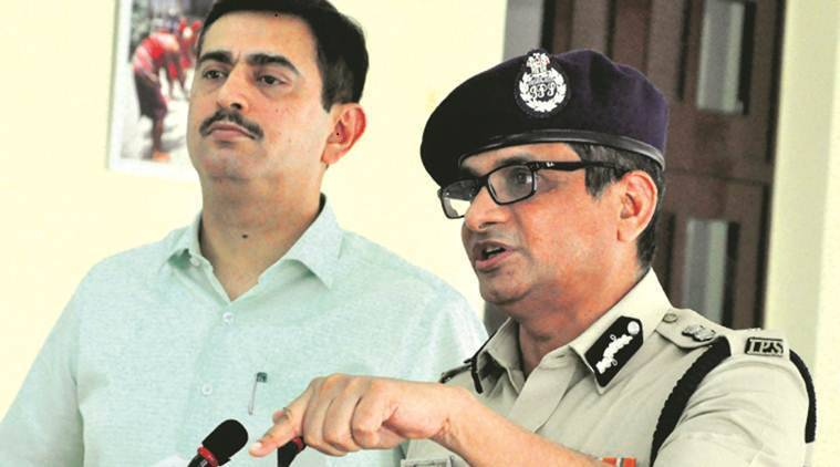 Police Commissioner Rajeev Kumar at a press meet in Nabanna. (Express photo)