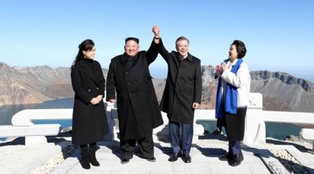 Fulfilling a dream, Moon Jae-in visits sacred North Korean mountain with Kim Jong Un