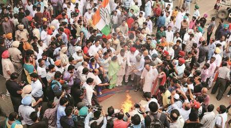 In Ludhiana, Congress leaders raise slogans against PM Modi, burn effigies