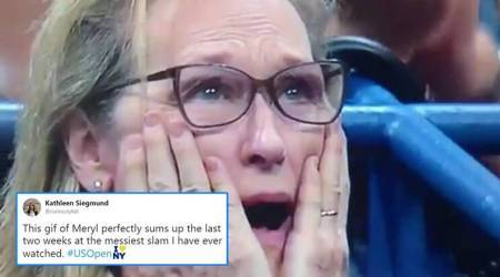 Meryl Streep's reaction during the US Open men's singles final match is going viral
