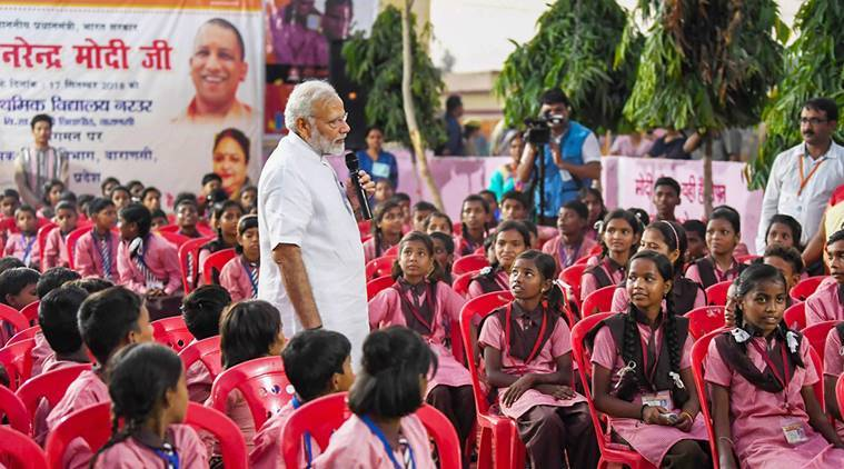 PM in Varanasi: On 68th birthday, Modi visits school, temple