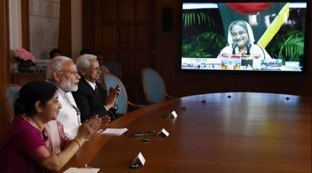 PM Modi, Hasina flag off pipeline work