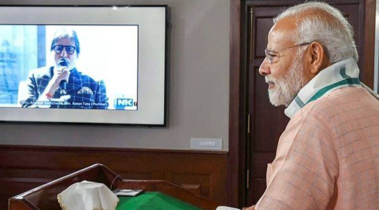 PM Narendra Modi during a video conference with actor Amitabh Bachchan, in New Delhi on Saturday. (PTI)