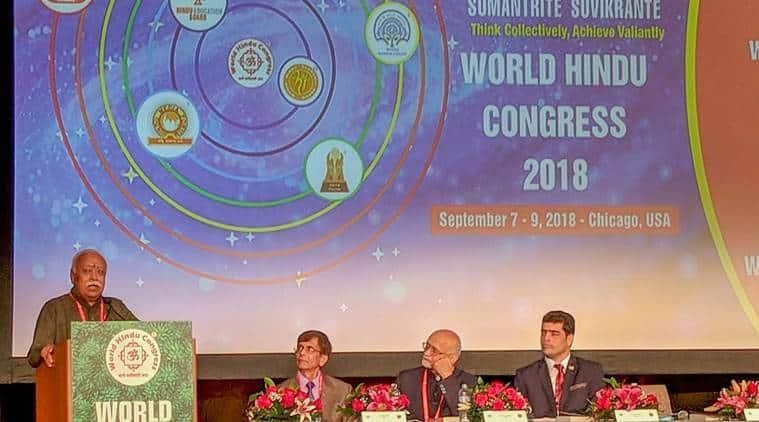 RSS chief Mohan Bhagwat, RSS, Mohan bhagwat, World Hindu Congress, Hindus, Hinduism, India News, Indian Express