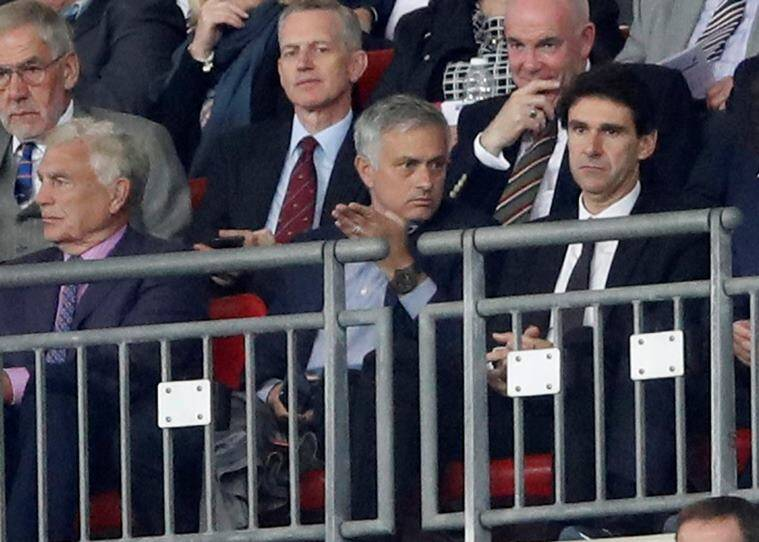 Sir Trevor Brooking, Manchester United manager Jose Mourinho and Nottingham Forest manager Aitor Karanka in the stand