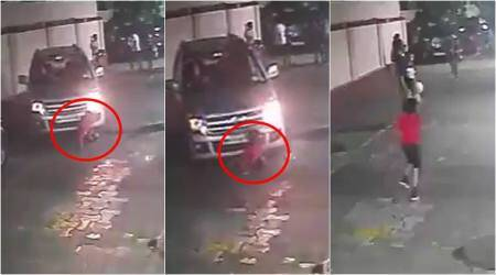 Video: Child miraculously survives after getting run over by car in Mumbai