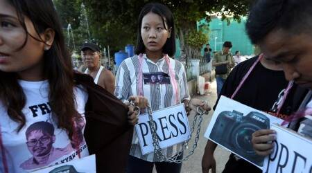 Myanmar youth, journalists demonstrate against jailing of Reuters reporters