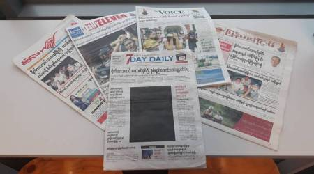 Myanmar paper partially blacks out its front page in protest against journalists' sentencing