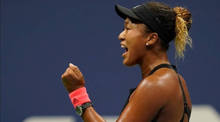 Naomi Osaka of Japan reacts after winning the 1st set against Madison Keys of the USA in a women's semi-final match on day eleven of the 2018 U.S. Open tennis tournament at USTA Billie Jean King National Tennis Center.