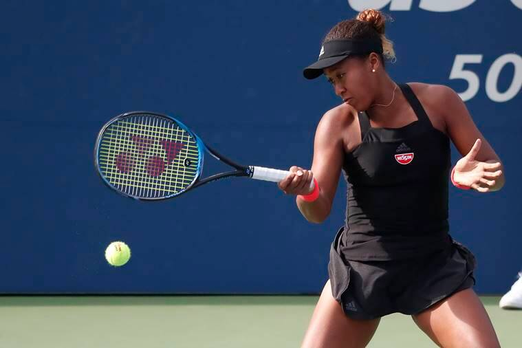 Naomi Osaka of Japan hits a forehand against Aliaksandra Sasnovich of Belarus (not pictured) in the third round on day six of the US Open at USTA Billie Jean King National Tennis Center.