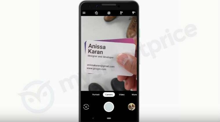 Google Pixel 3 camera can automatically scan business card