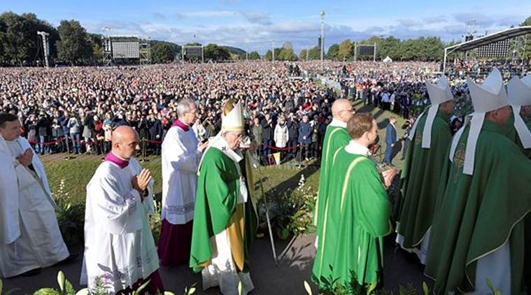 Pope Francis celebrates a Holy Mass in Kaunas on Sunday. (Reuters)