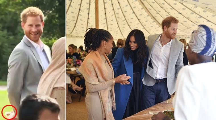 prince harry , meghan markle, meghan marle cookbook, prince harry sneaking samosas, prince harry stole samosas, meghan cookbook lunch, Hubb Kitchen Community, viral videos, indian express