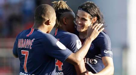 Kylian Mbappe scores and gets sent off as PSG wins 4-2 at Nimes