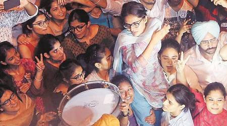 Setting aside party loyalties, women celebrate Kanu Priya's victory in PU student polls