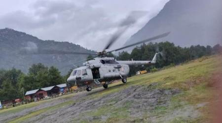 Bad weather, Himachal rains, Himachal weather, Himachal news, Kullu Manali weather, helicopter, rescue operation, Indian Express news, helicopter, rescue operation
